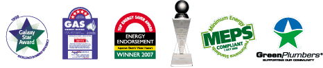 Galaxy Star Award, Green Plumbers, Energy Endorsement Winner 2007, MEPS Compliant